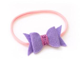 Felt and Ribbon hair bow glitter band