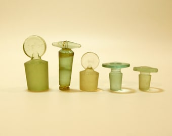 Vintage Soviet stopper for medical or business bottle. Made in the USSR in 1960s. A pale blue glass. set of 5pcs