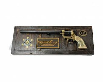 """18""""x5"""" Wyatt Earp Signature Colt Buntline US Marshall Old Floor Wood Plaque"""