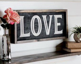 """Valentine Decor, Love Sign Wood, Hand Painted Wooden Signs, Woodland Baby Shower Decorations, Rustic Valentine, Farmhouse Decor, 21.5"""" x"""