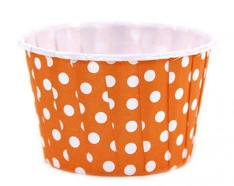 Snack Cups | Orange Polka Dot Snack Cups | Premium Quality Paper Baking Cups | Treat Cups | Candy Cups | Party Supplies | The Party Darling