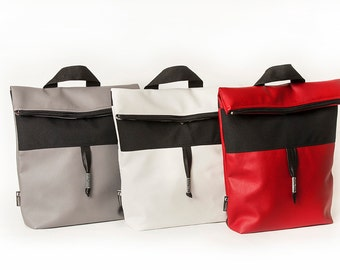 Backpack, vegan leather red, white, grey. Urban, contemporary, young, strap adjustable, weatherproff.