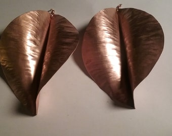 Copper twisted leaf earrings