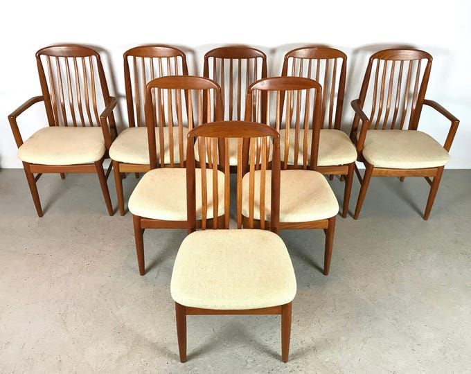 8 Mid Century Modern BENNY LINDEN High Back Teak Sculpted Wood Dining Chairs