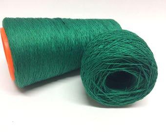 100g 100% linen yarn 3ply linen thread emerald green