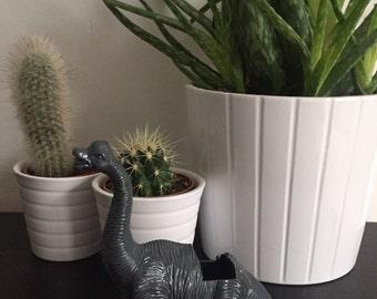 Brachiosaurus Dark Grey Gray Coloured Dinosaur Planter with Succulent Plant Home Modern Wedding Table Decor Decoration Office Gift Idea