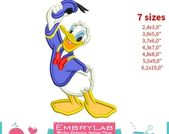 Applique Donald Duck. Mickey Mouse and Friends. Machine Embroidery Applique Design (16292)