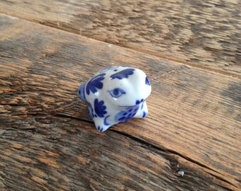 Vintage 1990's Cute Blue and White Delft Frog. Lovely Adorable Little Ornament