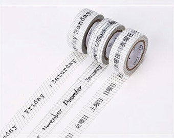 3X Calendar Washi Tape Date Washi Tape Notebook Decor Gift Wrapping Paper Tape Decorative Stickers Stationery