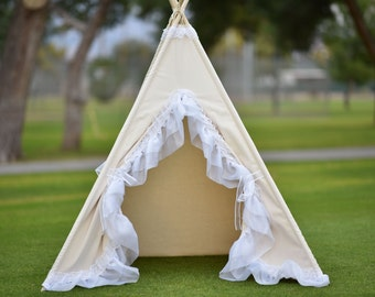 Ready to ship Jasmine Canvas Kids Teepee, Kids Play Tent, Childrens Play House, Tipi,Kids Room Decor