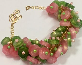 Handmade Pink and Green Beaded Bracelet-Pink Bracelet