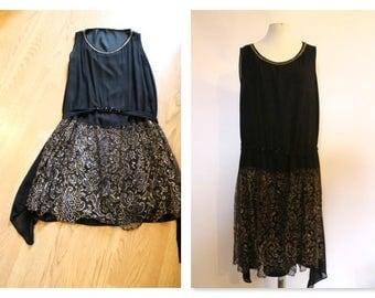 True Vintage 1920s Flapper deco Drop waist black Lace dress