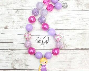 Rapunzel & Pascal, Tangled, Princess chunky bubblegum necklace