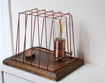 Lamp Cage varnished wooden and copper