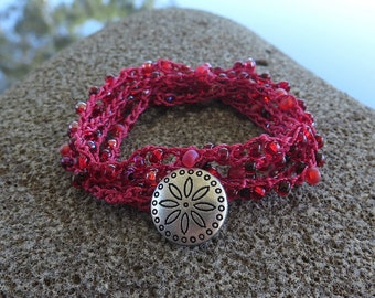 Beaded Crochet Wrap Bracelet, Crochet Necklace, Boho Jewelry, Crochet Wrap Bracelet,
