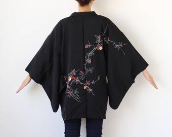embroidered silk kimono jacket, Haori, black kimono /1694