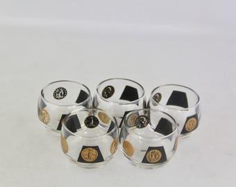 SALE! Vintage Cera 22k Black & Gold Coin Roly Poly Glasses/Set of 5