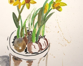"Original painting with water colour ""Daffodil"""