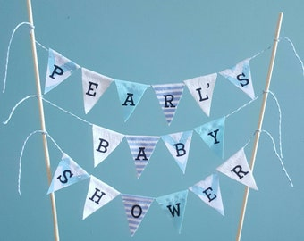 Personalised baby blue fabric cake topper bunting for baby shower