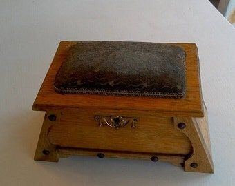 Cute Little Wood Box for Trinkets or Sewing. Top is padded, could use as Pincushion.