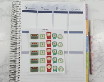 Retro, Clocks, Time, Alarm Clock, Erin Condren, Stickers, Life Planner, Midori and all planners