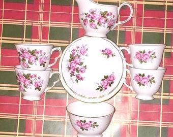 Queen Anne Pink Rose Tea Set