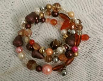 Beaded Bracelet, Beaded Bangle, BoHo Bracelet, Fall Bracelet, Unique Bracelet, Upcycled Bracelet, One Size Fits All, Brown Bangle, Pearls