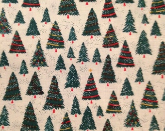 Tiny Christmas Trees on White Background, Dear Stella Design, 100% Cotton