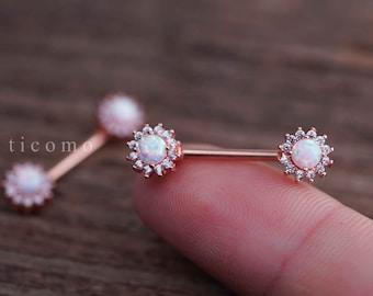 Nipple ring Nipple piercing Nipple jewelry Nipple barbell Fire White Opal Zircon Flower Rose Gold #1N01W