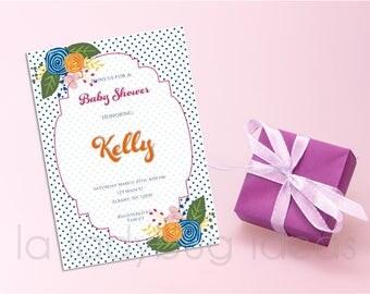 Baby shower invitation for girl, printable, Floral printable baby shower invitation, modern style. Digital invitation for girl baby shower..