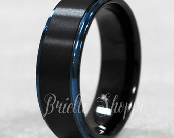 tungsten ring mens tungsten wedding band black tungsten ring black ring blue - Tungsten Wedding Rings For Men