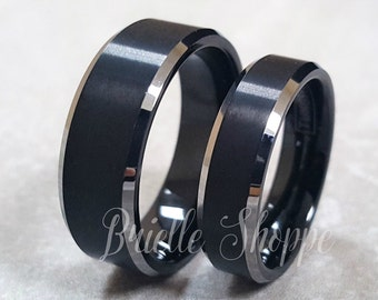 Tungsten Wedding Band Set, Tungsten Ring, Men's Tungsten Wedding Band, Men's Black Wedding Band, Tungsten, Personalized Ring, Couples Ring