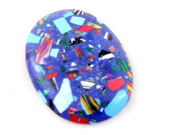 Blue Rainbow Stone Cabochon. Blue Oval Cabochon. Blue Cabochon. Rainbow Cabochon. Blue Oblong Cabochon. Blue Stone Cabachon 40mm x 30mm