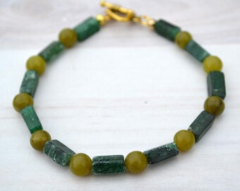 Green aventurine bracelet, Beaded green aventurine bracelet, Genuine aventurine bracelet, Aventurine gift, Buy one get one free.