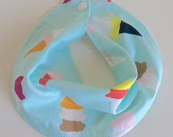 Ice Cream Infinity Scarf Bib - Baby Scarf - Adjustable Baby Bib Scarf -Limited Edition Fabric