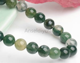B477 Natural Moss Agate Beads Supplies,Full Strand 4 6 8 10 12 14 16mm Round Moss Agate Gemstone Beads for DIY Jewelry Making