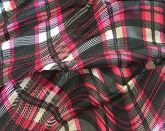 Black/grey/pink CRAZY PLAID Lycra spandex fabric (thin weight)