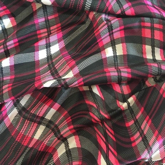 Black/grey/pink CRAZY PLAID Lycra spandex fabric (thin weight)