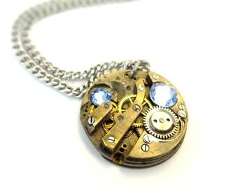 Steampunk Necklace  - Clockwork - Steam Punk Watch Movement - Blue Crystals