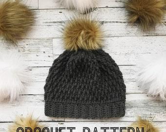 Crochet Beanie Pattern- Crochet hat pattern- Crochet- hat- Winter hat- Crochet Pattern- Crochet beanie with pom pom- Pom Pom