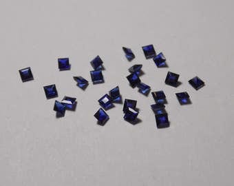 25 2.75 mm square blue sapphires 3.5 ct total average weight .14 ct