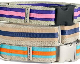 Hemp Martingale Dog Collar, Buckle Martingale Collar, Hemp Dog Collar, Hemp Puppy Collar, Hemp Canine Accessories, Hand Made Collar, M08