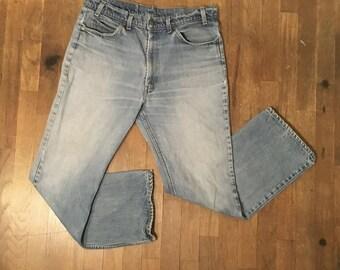 vintage levis 517 orange tab denim high waist blue jeans made in usa 35 X  28 1/2