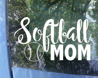 Softball Mom Decal - Sports Mom - Softball Decal - Softball Mom Window Decal - Softball Mom Car Decal - Sports Mom Decal - Sports Decal