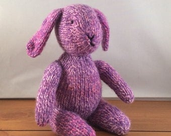 Bunny, knitted bunny rabbit, knitted rabbit, purple bunny, UK seller
