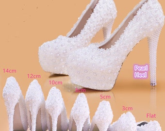 Stylish Womens Pearl Lace Bridal Shoes/Heel Pumps/Custom Shoes with personalized exclusive signature design