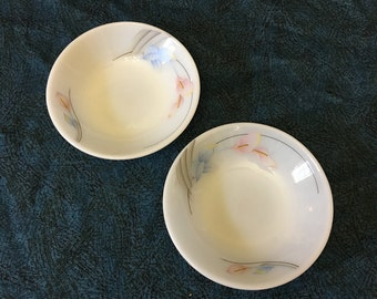 Vintage Pearl Stone Pink Calla Lily Milk Glass Soup Bowls from Woo Jin