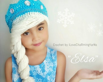 Elsa hat,elsa frozen hat,elsa crochet hat,crochet elsa frozen hat,crochet elsa crown,frozen elsa hat,frozen crochet hat,princess crochet hat