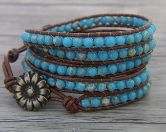 Ocean Blue Jasper bead wrap bracelet bohemian bead leather bracelet BOHO bead bracelet Gypsy Leather wrap bracelet gemstone Jewerly SL-0460