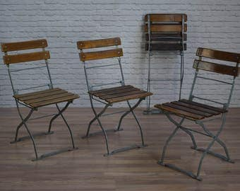 Vintage Industrial Style Folding Garden Cafe Bar Chairs (30 AVAILABLE)